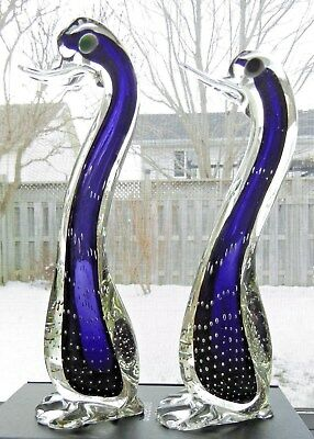 Pair Of Purple Murano/italy Blown Glass Standing Ducks - W/ Controlled Bubbles