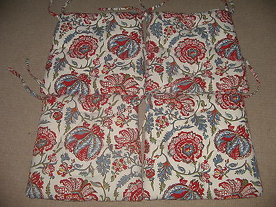 Lot of 4 Pottery Barn Red & Blue Floral Garden Tufted Chair Cushions