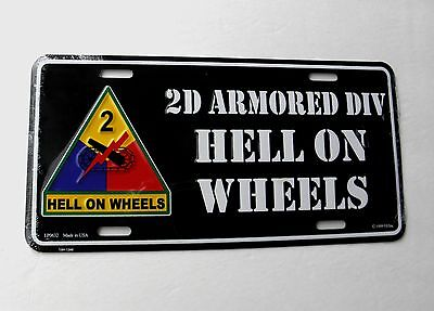 2nd Armored Division Hell on Wheels US Army Embossed License Plate 6 x 12 inches