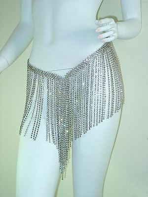 Belly Dancing Fringe Skirt Costumes Clear Austrian Rhinestone Silver Dancewear