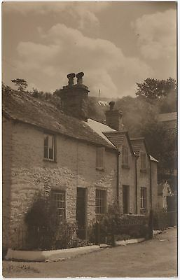 Real Photo Postcard Stone Built Cottages Terrace Unknown Location Where?