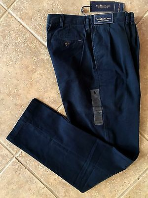 Polo Ralph Lauren Pleat Front Chino Pants Men's 34 x 34 Navy Classic Fit NWT