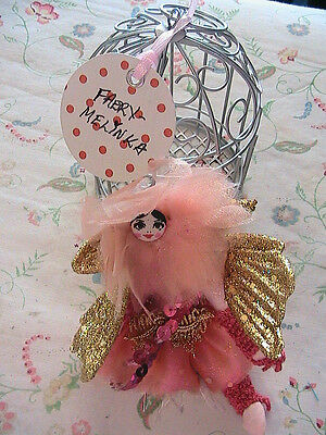 "FAIRY PRINCESS~ANGEL IN A CAGE ""Melinka"" cloth art doll & pindoll *OOAK 5"" tall"