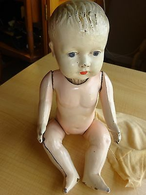 Antique All-Metal Baby Doll w/ Painted Eyes  11""