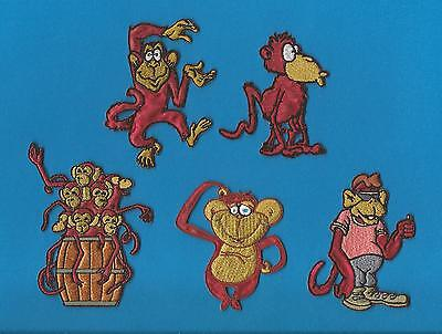 5 Lot Cartoon Monkeys Embroidered Iron On Hat Jacket Hoodie Backpack Patches