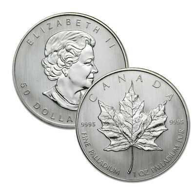 1 oz Canadian Palladium Maple Leaf $50 Coin .9995 Fine - Random Year RCM Leaf