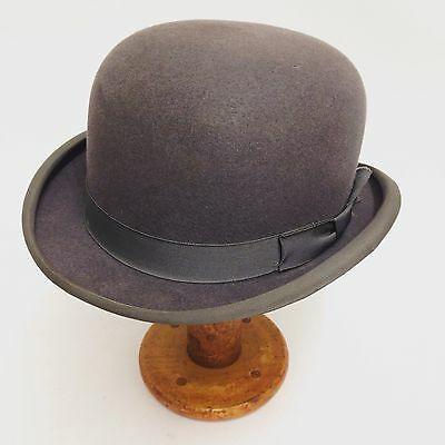 Vintage Derby Bowler Hat Grey Moss Bros Size 7 1/4 Or 59cm