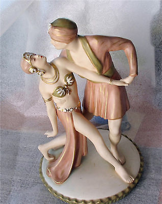 1930's Royal Dux Porcelain Figure Dancer Group Rudolph Valentino & Vilma Banky