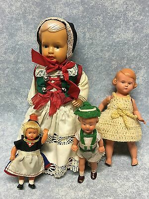 """Lot of 4 Antique dolls Celluloid 4"""" to 9"""" Hedebo Pige hang tag and Turtle mark"""