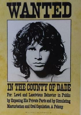 """DOORS, THE   JIM MORRISON Flag/ Tapestry/ Fabric Poster  """"Wanted""""    NEW"""