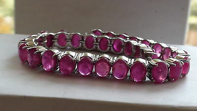 NATURAL RUBY 154.20 CT 925 SILVER BRACELET,VINTAGE ESTATE Jewelry. 8'',$1550