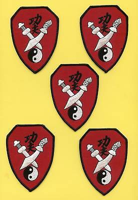 5 Lot Kung Fu Martial Arts Iron On Patches Crests A