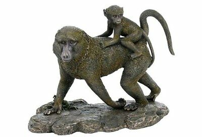 "9.75"" Baboon and Baby Statue Sculpture Figurine Animal Decor Monkey Figure"