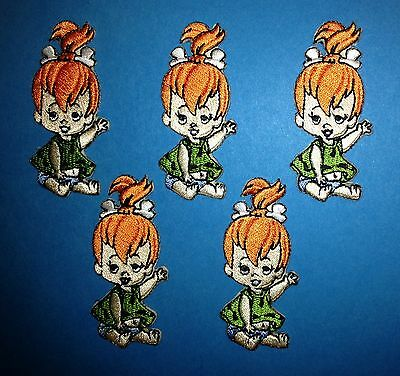 5 Lot Pebbles Flintstone Iron On Embroidered Hat Jacket Backpack Patches Crests