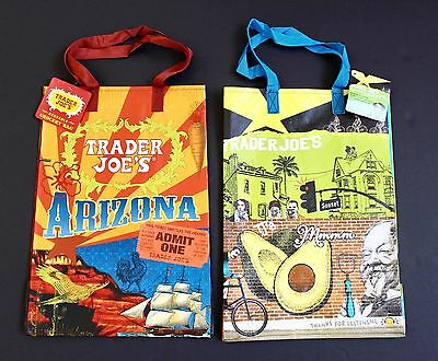 TRADER JOE'S Lot of 2 x 6 Gallon REUSABLE SHOPPING BAGS Arizona & California NEW