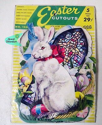 Vintage 1960 Eureka EASTER CUTOUTS Stained Glass BUNNY BASKET mint in package