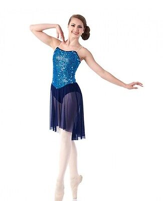 Glimmer Dance Costume Navy Lyrical Ballet Contemporary Ice Skating Clearance