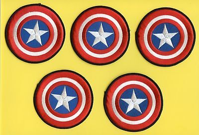 5 Lot Captain America Iron On Hat Jacket Backpack Hoodie Patches Crest