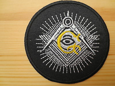Masonic Embroidery  Patches Square & Compasses G Eye Iron on 3 inch Freemason P2