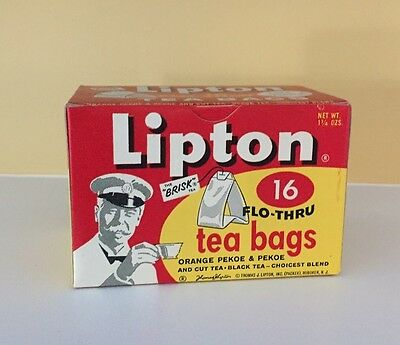Vintage Original 1950's Lipton Flo-Thru Tea Bags Advertising Sales New Old Stock