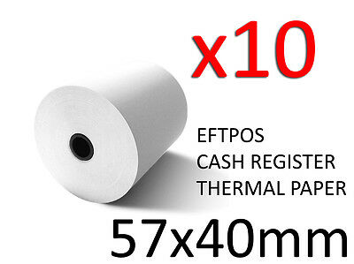 10X HIGH QUALITY THERMAL PAPER EFTPOS CASH REGISTER RECEIPT ROLLS 57MM x 40MM