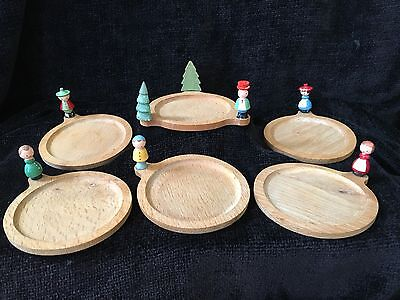 Vintage Sevi Wooden Stacking Coasters with Handpainted Figures Made in Italy Box