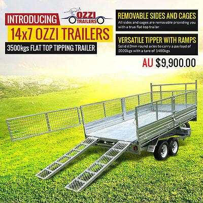 3.5 Tonne Gal Hydraulic Tipping Trailer with Ramps