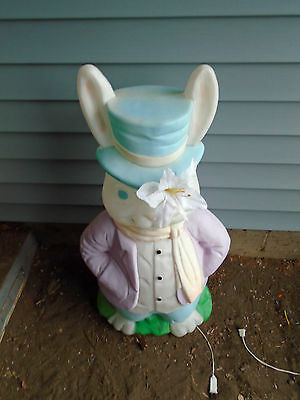 LARGE MR BUNNY  LIGHTED BLOWMOLD-VERY HARD TO FIND HAS CHIP IN HAT(covers easily