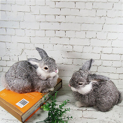 2 Realistic Rabbits High-grade Handcrafted Home Decor Fur Bunnies Furry Animal