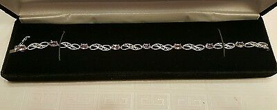 Purple Amethyst and Diamond Silver Bracelet with Certificate of Authenticity