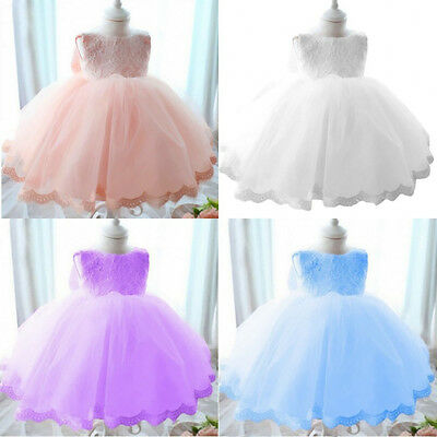 Baby Kids Princess Pageant Bridesmaid Flower Girls Party Wedding Lace Bow Dress