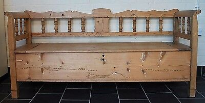 Antique pine Victorian period settle with storage