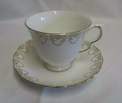 Queen Anne Ridgeway Fine English bone china Cup & Saucer -white and gold