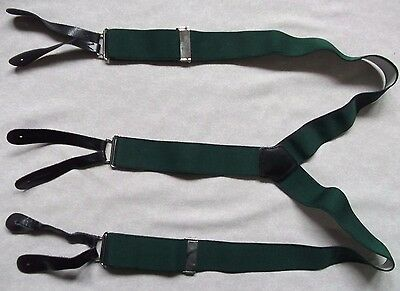 GREEN VINTAGE BUTTON BRACES 1960s 1970s MENS LEATHER ENDS SKINHEAD SKA SMALL
