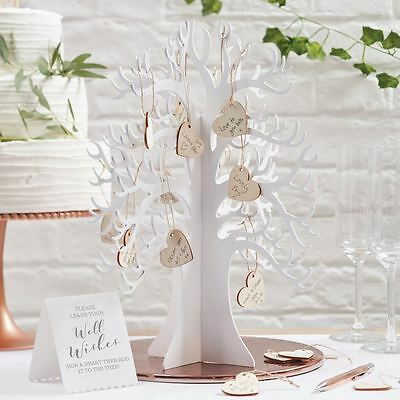 New Ginger Ray Wooden Wishing Tree & Hearts Alternative Wedding Guest Book