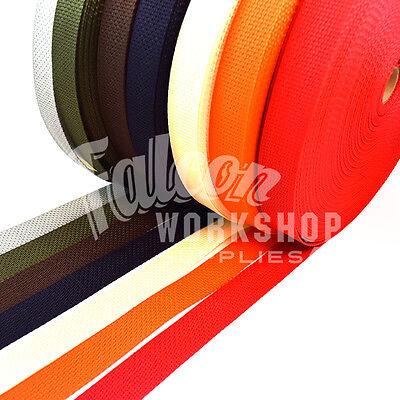 BLACK RED OLIVE ORANGE NAVY GREY CREAM  BROWN 25mm WEBBING STRAPPING BAGS STRAP