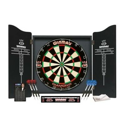Winmau Professional Darts Set - Diamond Wire Premium Bristle Dartboard & Cabinet