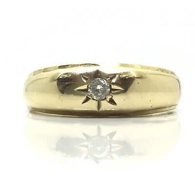 Lovely Vintage Gypsy Star Setting 1989 Diamond 9ct Gold Ring Size Q