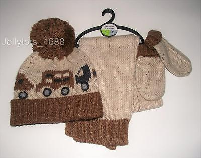 BNWT NEXT Boys Clothes 1-4 years Beige Brown Winter Hat Scarf & Gloves Set Cars