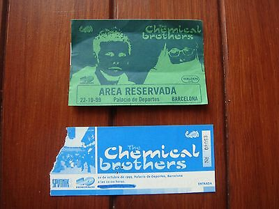 The Chemical Brothers Used Concert Ticket + Vip Area Pass 1999 Barcelona Spain