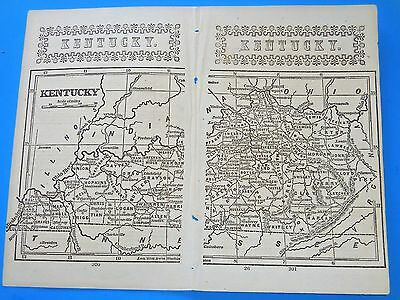 """Antique Map State Of  """"kentucky""""   From 1851;  9"""" X 7"""". Original From Book"""