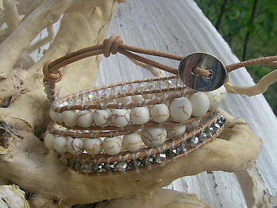 4 wraps bracelet perles turquoises cristal crystal beads leather cuir