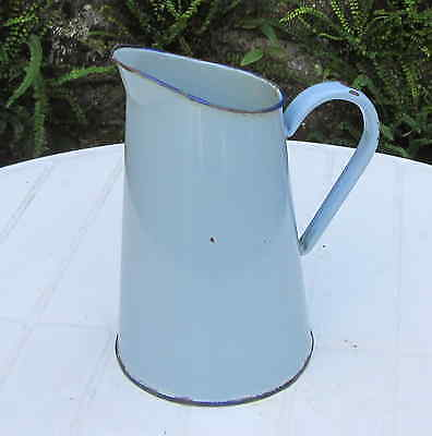 Vintage French Charming Small Blue Enamel Jug Watertight Graniteware Pitcher