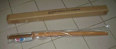 "One (1) - AWMA Daito 40"" Wood Bokken with Wood Scabbard **NEW IN BOX**"