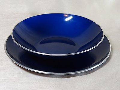 Vintage Emalox Dark Blue Aluminum Fruit Bowl and Salad Plate Bjorn Engo, Norway