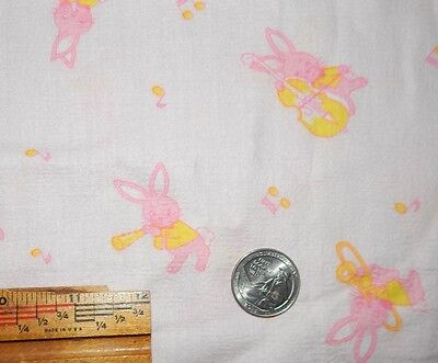 true vintage pink baby cotton fabric bunny rabbit instrument music 1 1/3 yd ltwt