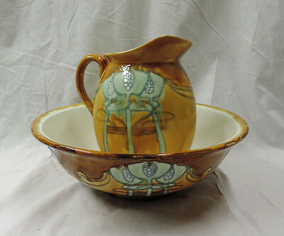 ART NOUVEAU MINTON SECESSIONIST No 1 BATHROOM WASH JUG & BOWL C.1900