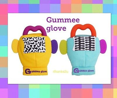 Gummee Glove Teething Mitten - New Silicone Teething Ring - Yellow or Turquoise