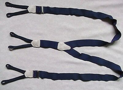 VINTAGE BUTTON BRACES 1960s ROPE ENDS ONE SIZE NAVY BLUE SKINHEAD MENS SKA