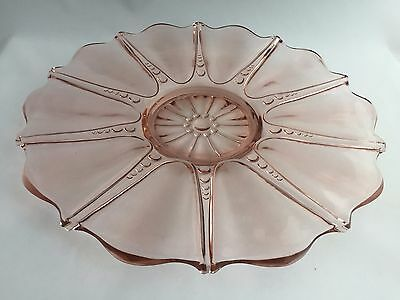 Anchor Hocking Oyster and Pearl Pink Depression Era Glass Sandwich Plate 1938-40